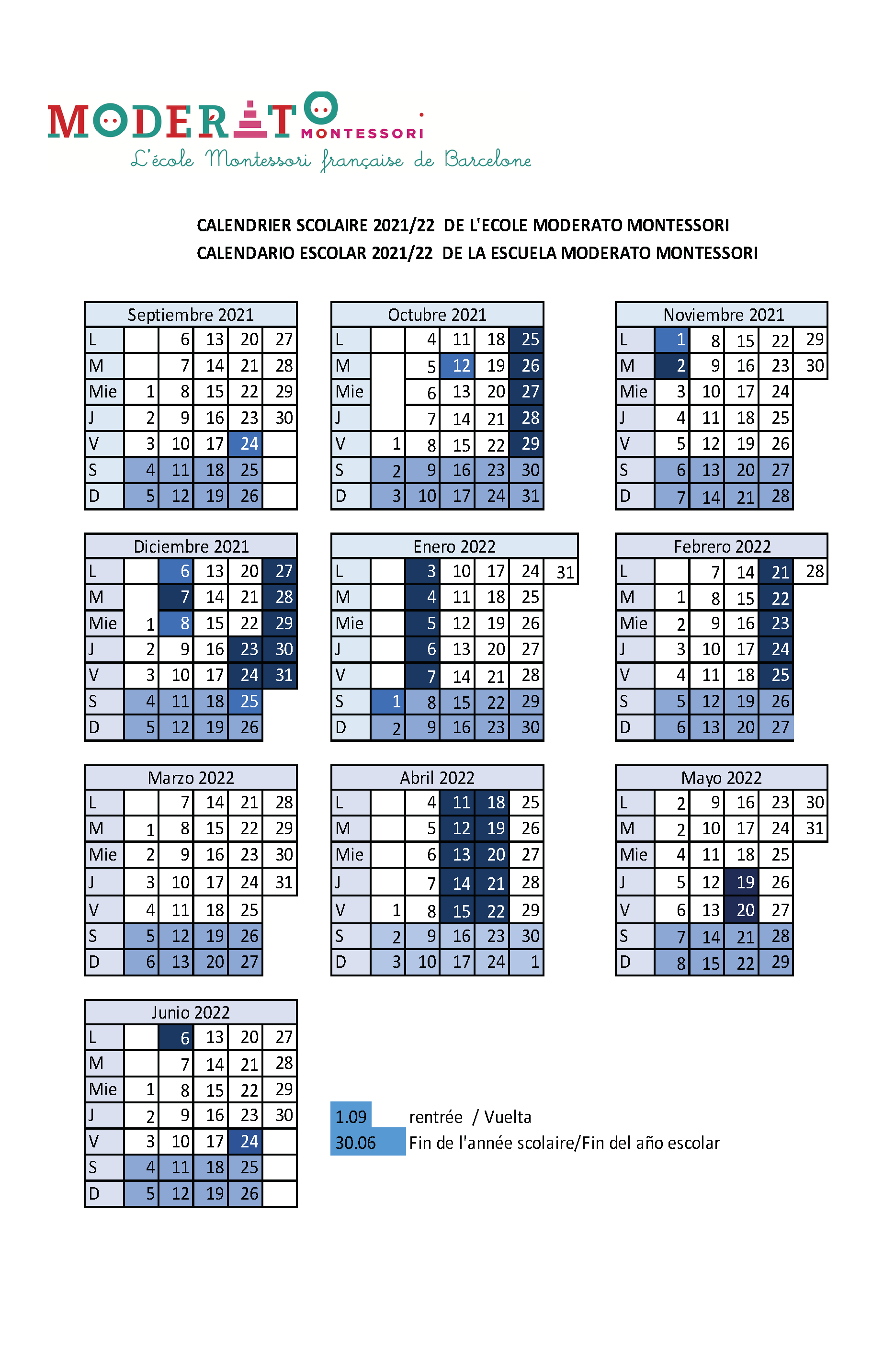 Calendrier Scolaires 2021-2022 Barcelona